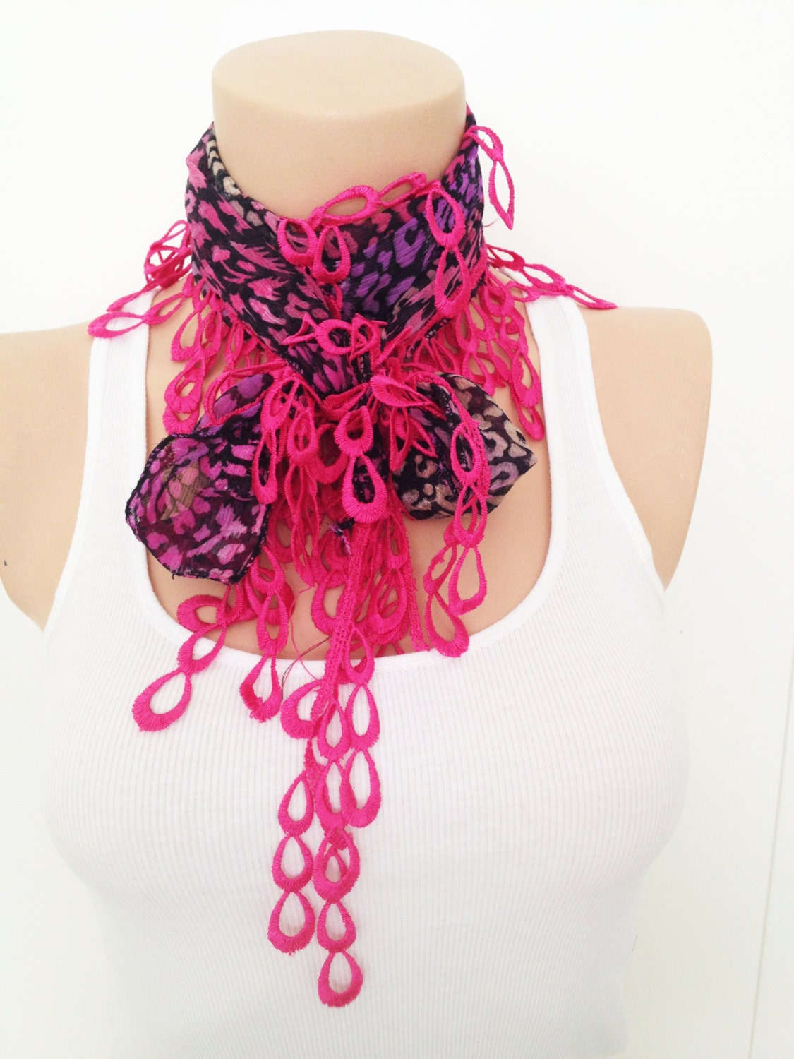 Black Honeysuckle Fuchsia  Leopard cotton Turkish Yemeni Scarf With Dark Pink Lace - cookieletta