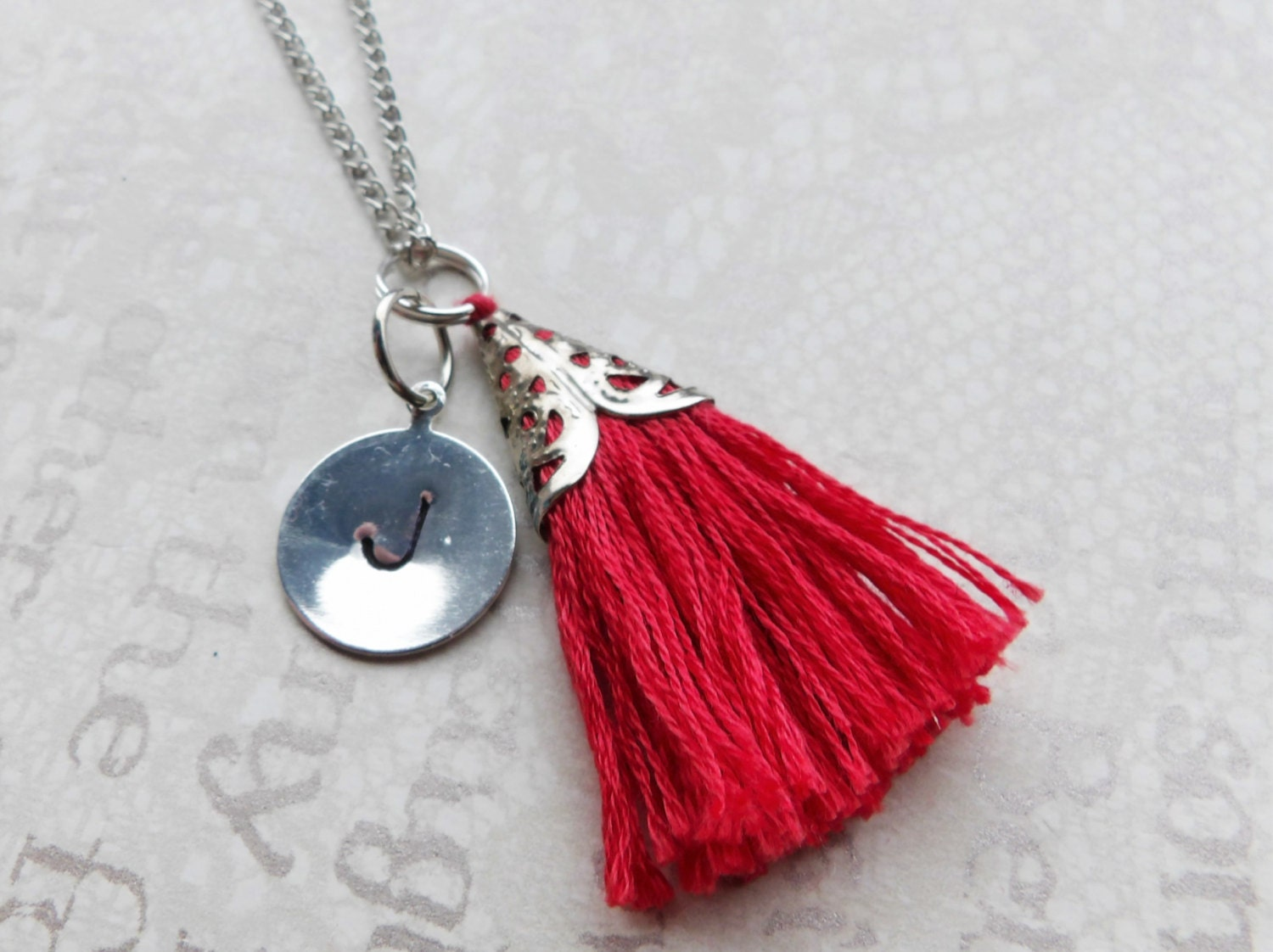 Tag  Tassel Personalised Initial Necklace Jewelry. Your Choice of Letter and Birthstone Tassel. Custom Silver Handmade Jewellery
