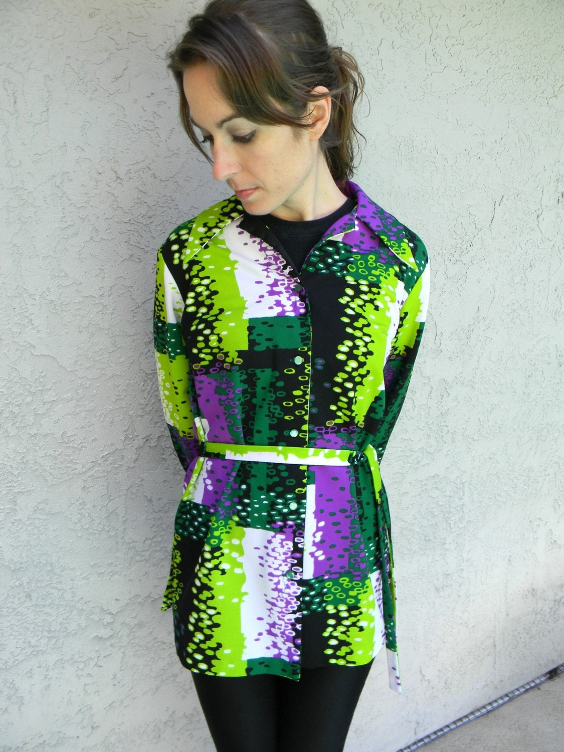 Technicolor Polyester Princess - Ultra Funky Vintage 70s Polyester Blouse/Mini Dress in Cool Abstract Electric Lime Green, Forest Green, White, Black, and Deep Purple - Double Knit til you Die