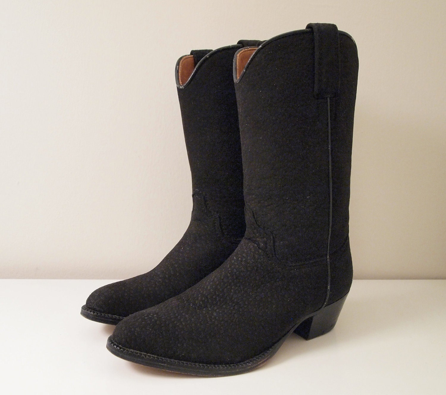 vintage black suede nubuck cowboy boots size 7 by nesnis