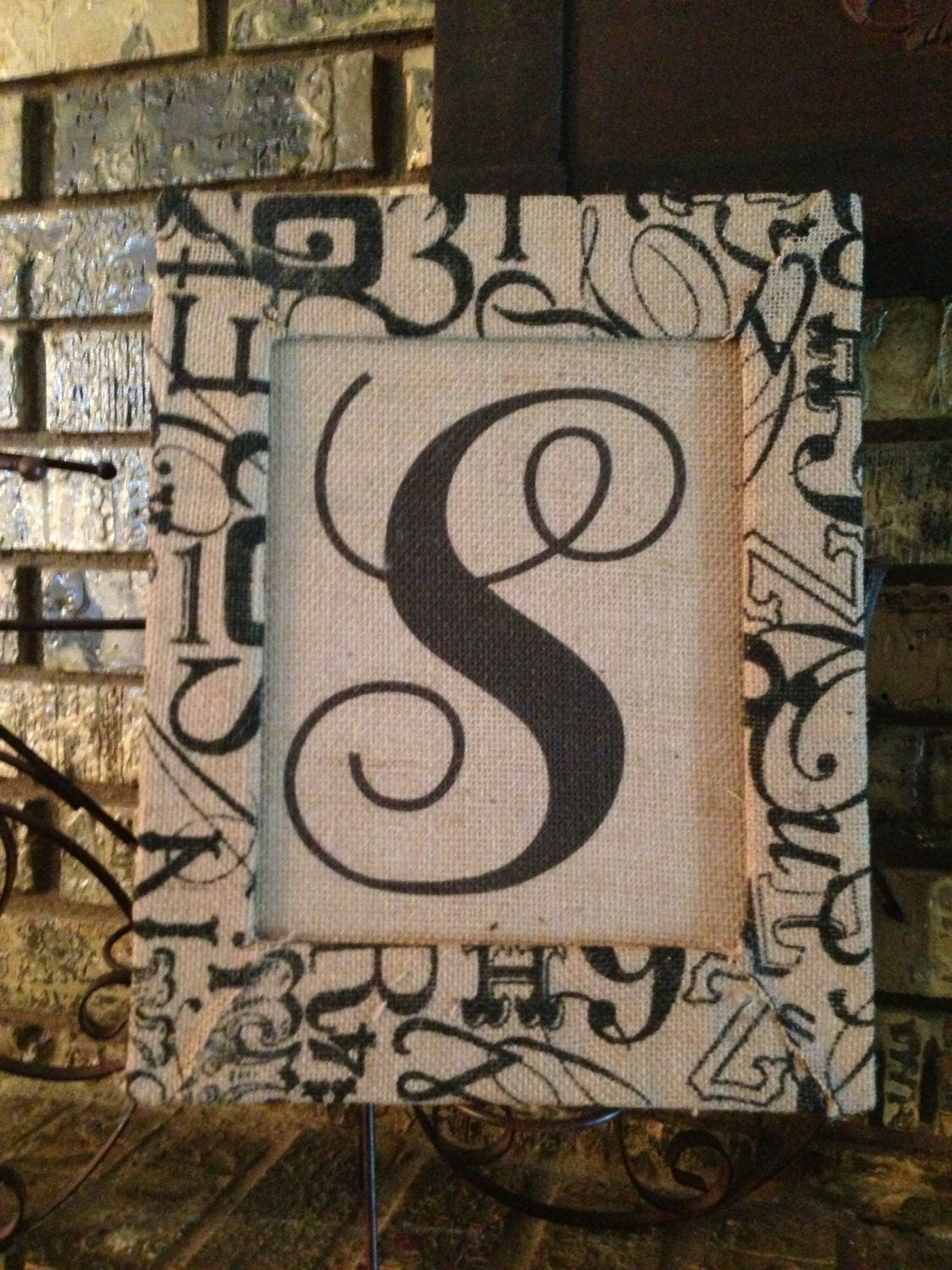 Etsy Initial Wall Decor : Items similar to monogram initial burlap sign with