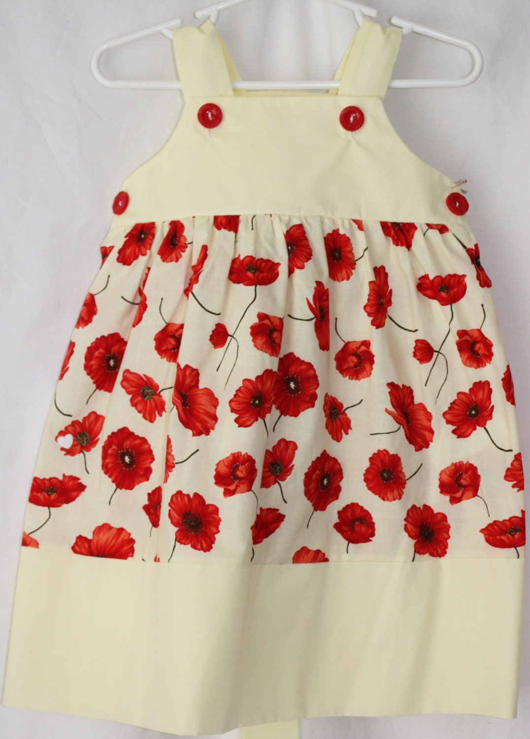 Red and yellow poppy dress, 4T