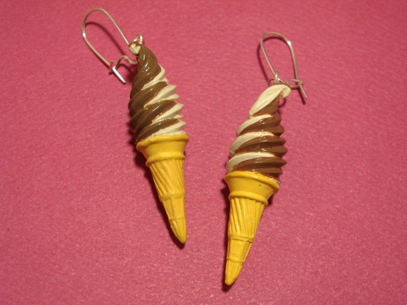 Vanilla Chocolate Swirl Icecream Cone Earrings