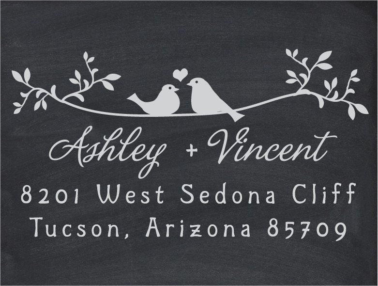 Your Custom Wood Handle Address or Wedding Stamp Twigs Two Birds In Love - 1038