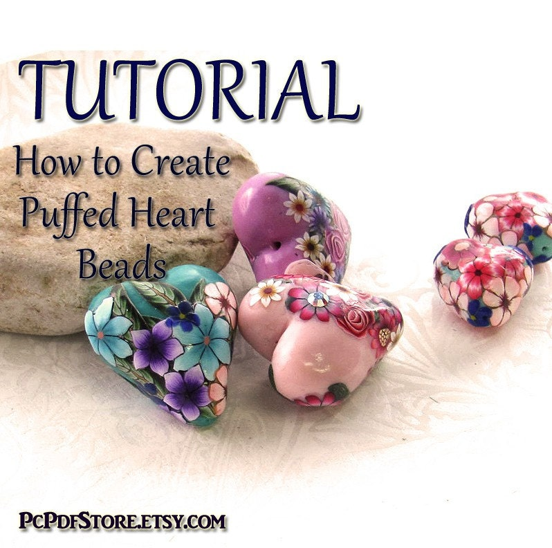 Puffed Heart Beads E book Pdf Tutorial 41 pages step by step instructions Guide