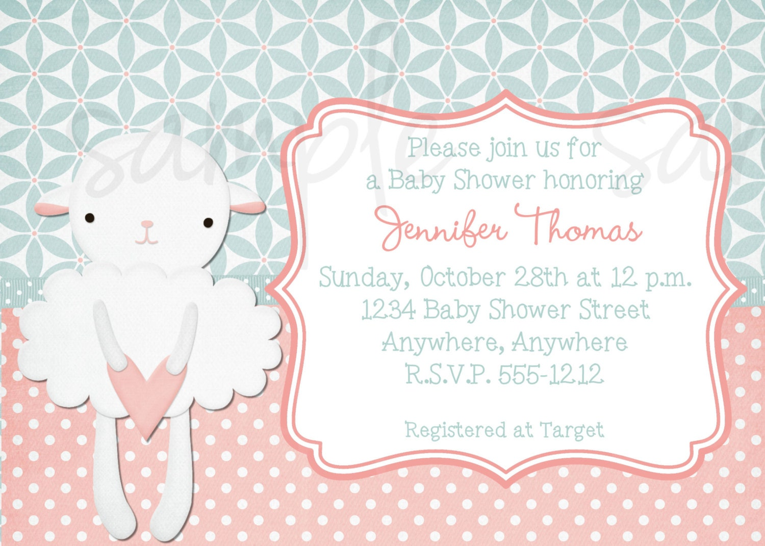 little lamb baby shower invitation by lovelifeinvites on etsy