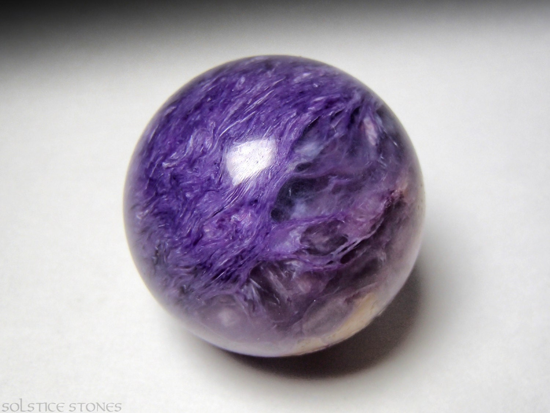 Exquisite Purple Charoite Sphere... Rare AA Grade Piece // Third Eye Chakra Stone, Mineral Specimen, Crystal Healing - SolsticeStones