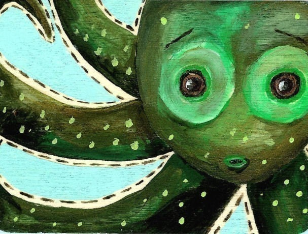Green Octopus Art Print 8.5 X 11 Limited Edition