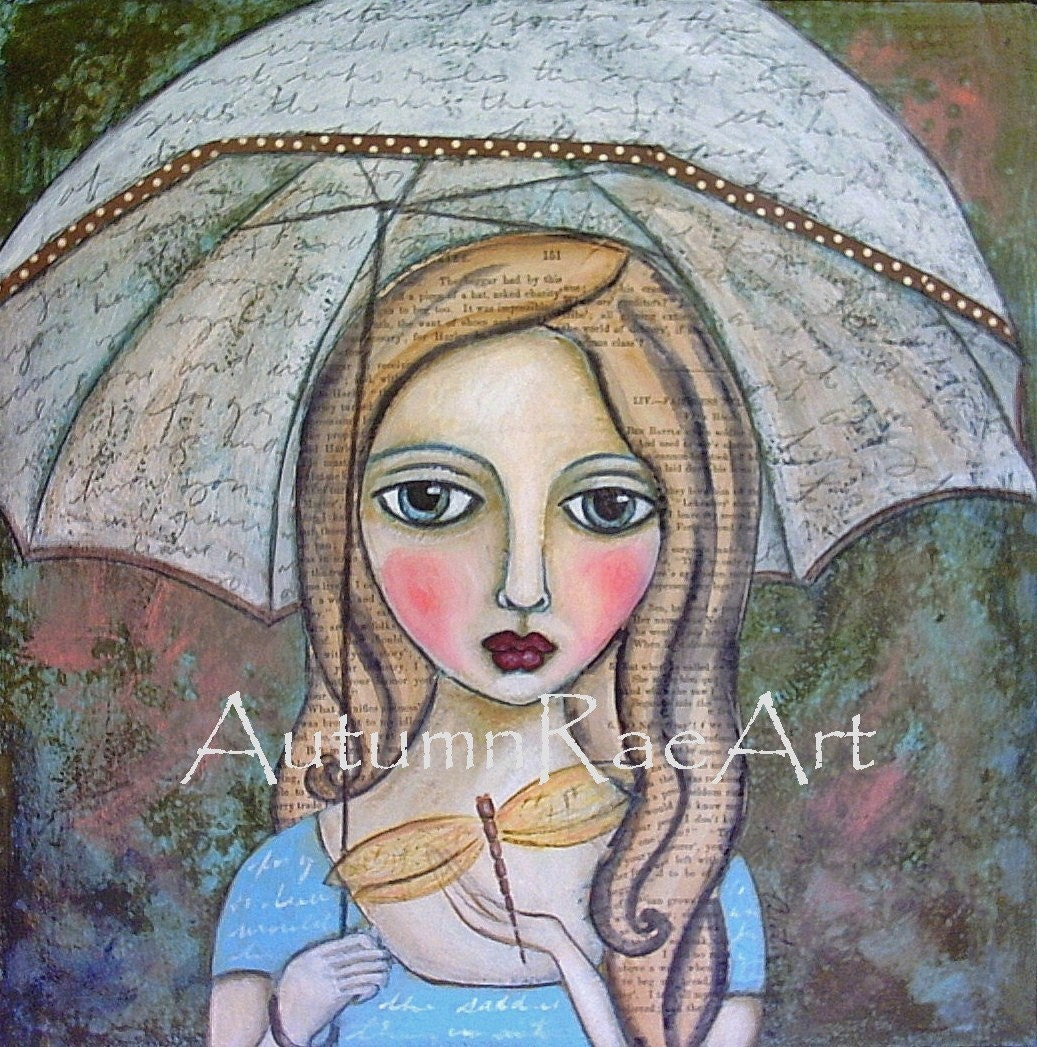SHELTER - Prim Nature GIRL DRAGONFLY hand-touched PRINT from original painting by Autumn