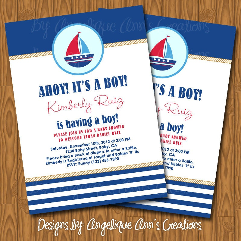 items similar to nautical theme baby shower invitations diy printable