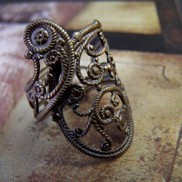 Paisley Tattoo Filigree Ring