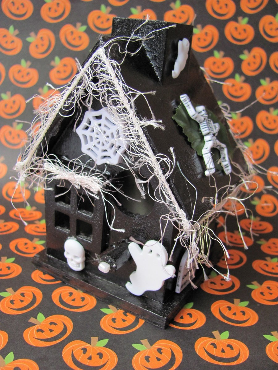 Haunted Halloween House- Whimsical Miniature Witch's Spooky Black Cottage with White Skeletons, Ghosts, Skull, Spiwderweb and Gravestones