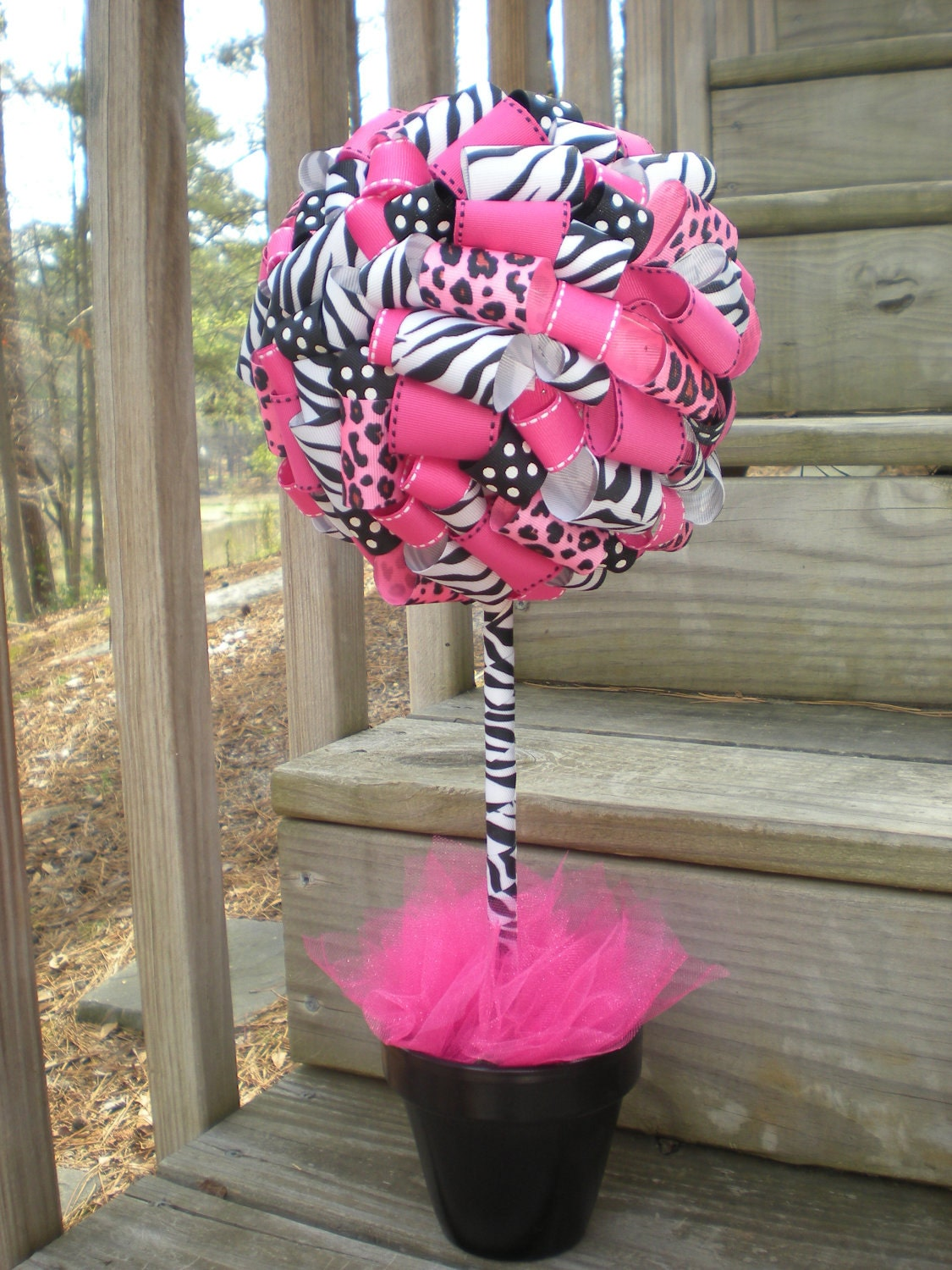 Items similar to ribbon topiary in zebra leopard hot for Animal print baby shower decoration ideas