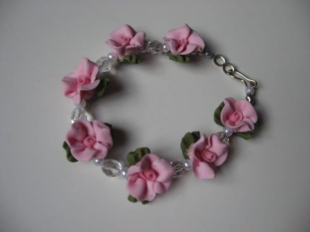 Pink Cold Porcelain Floral Bracelet
