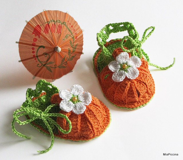 Baby summer sandals, crochet, size 0-M