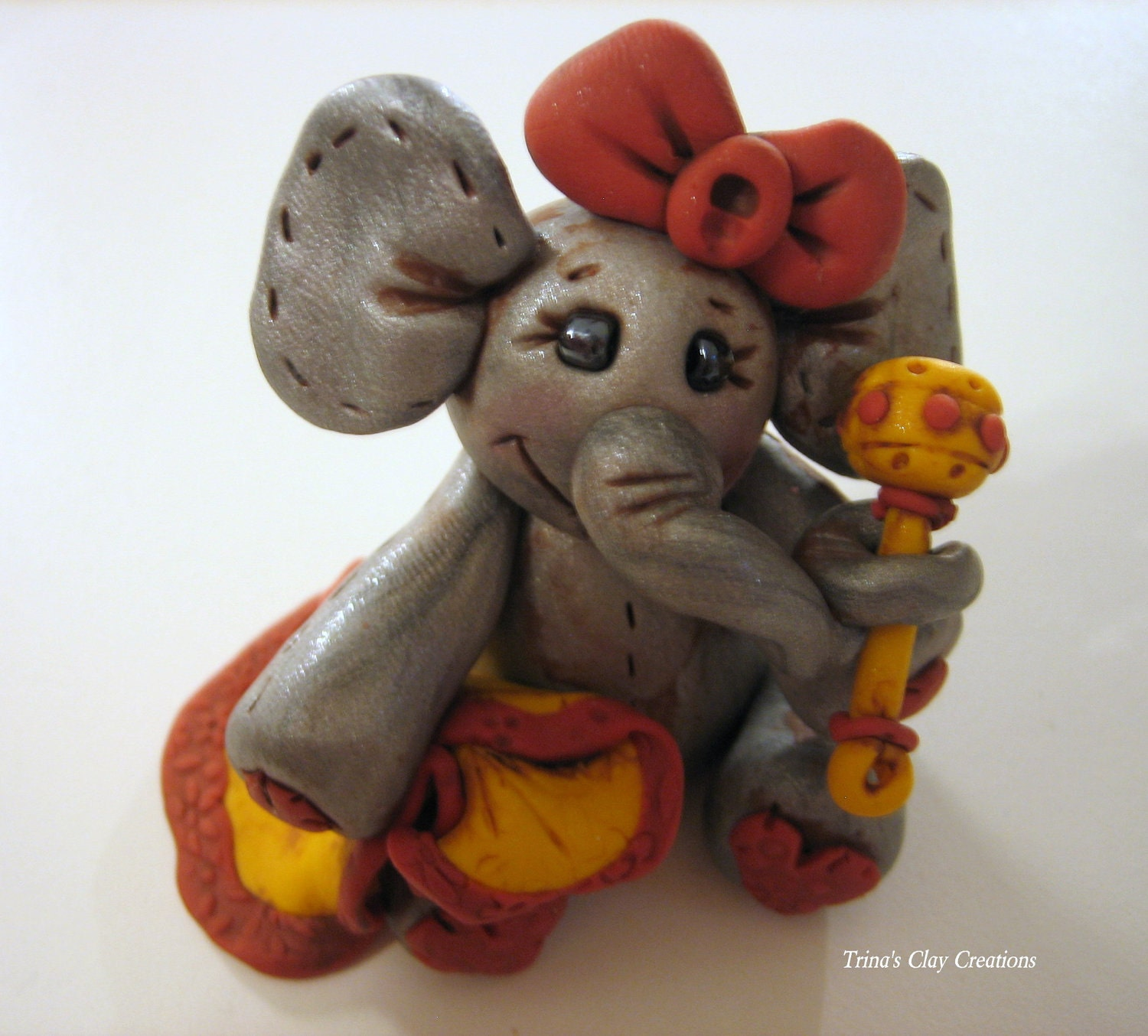 Polymer Clay Baby Elephant Cake Topper - trinasclaycreations