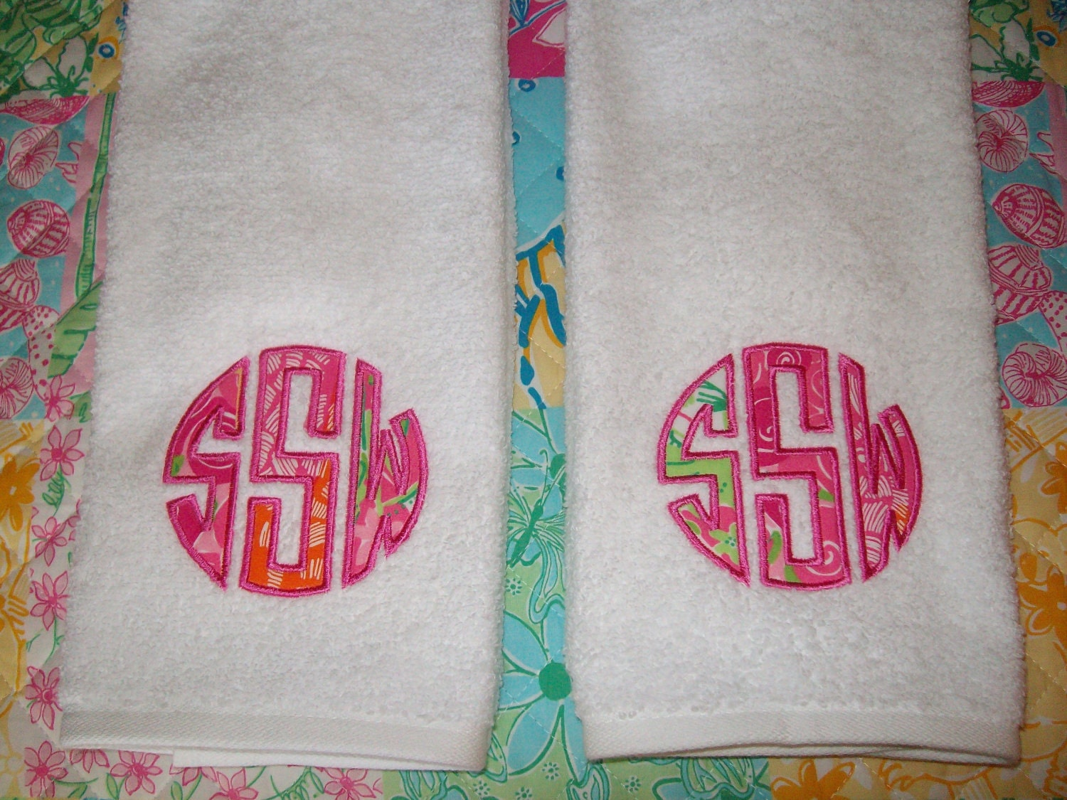 Monogrammed Lilly Pulitzer Fabric Towel Set