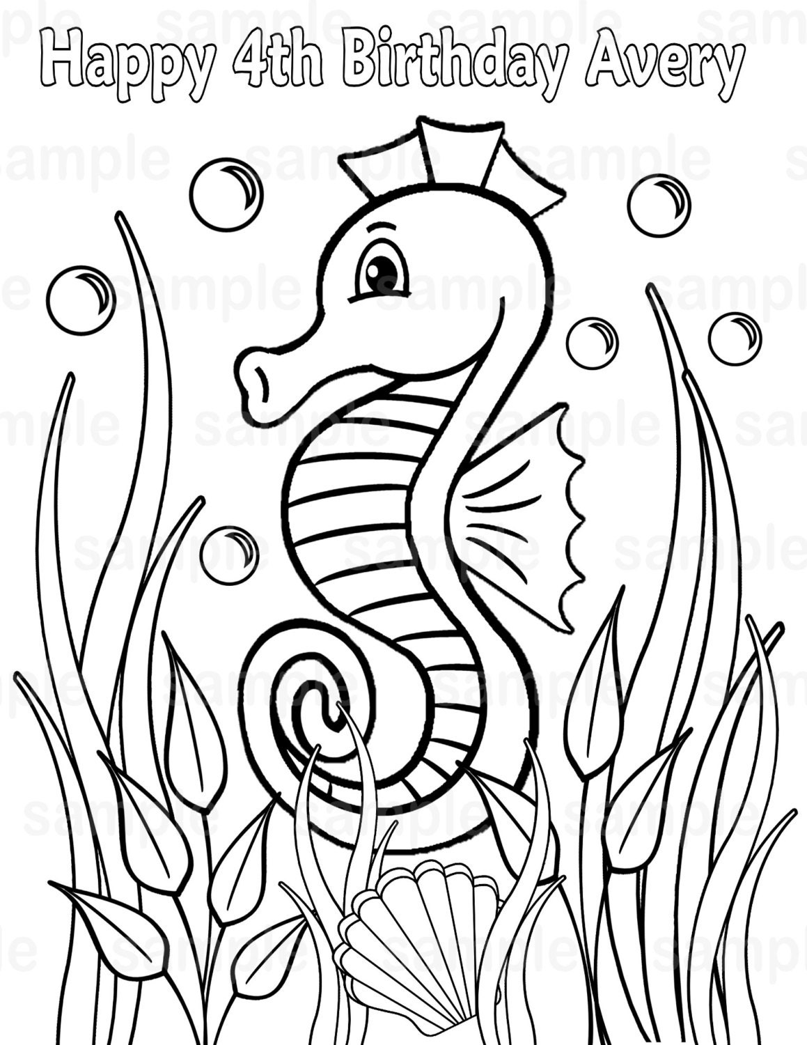 Personalized Printable Sea horse