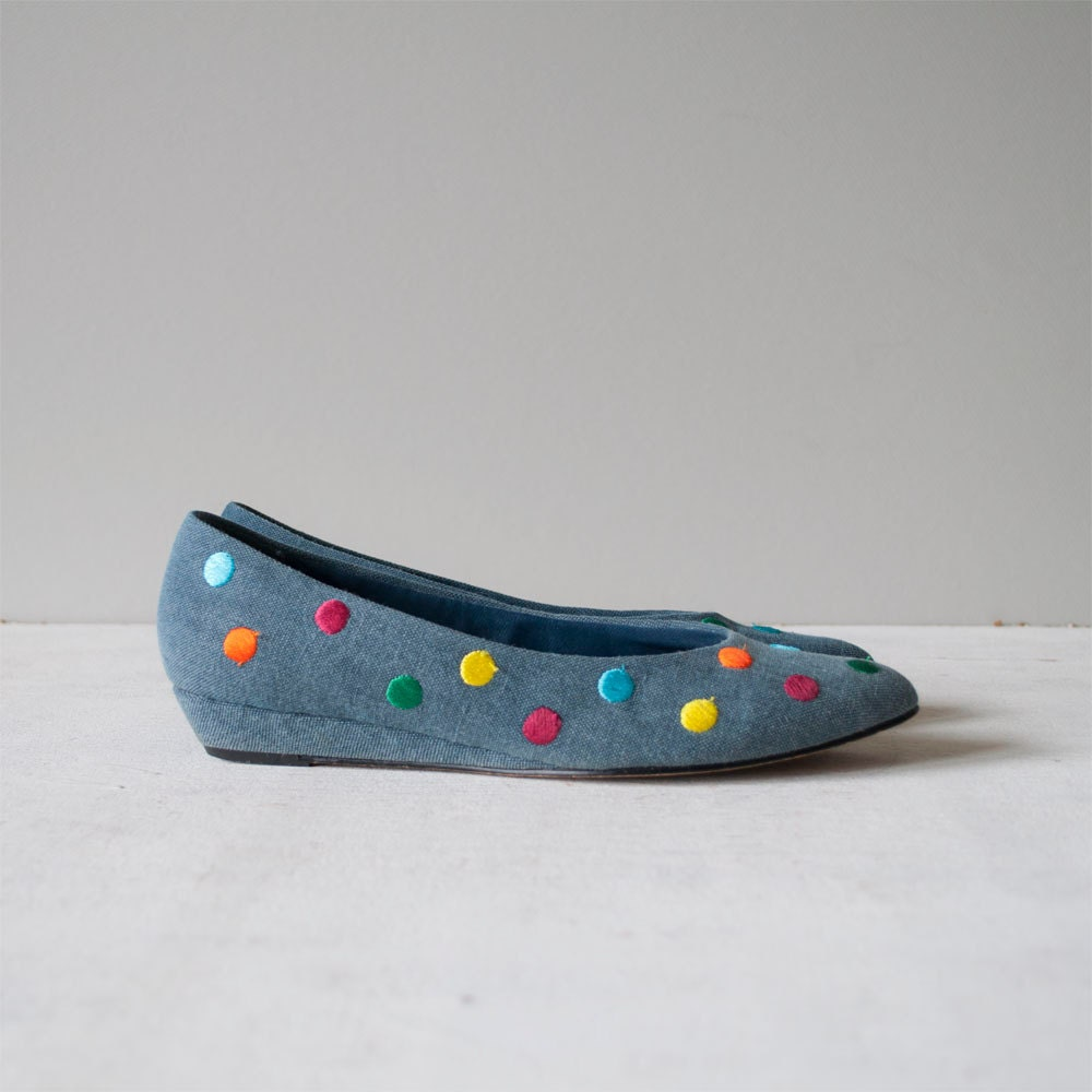 Vintage 80s POLKA DOT Denim Skimmers by MariesVintage on Etsy from etsy.com