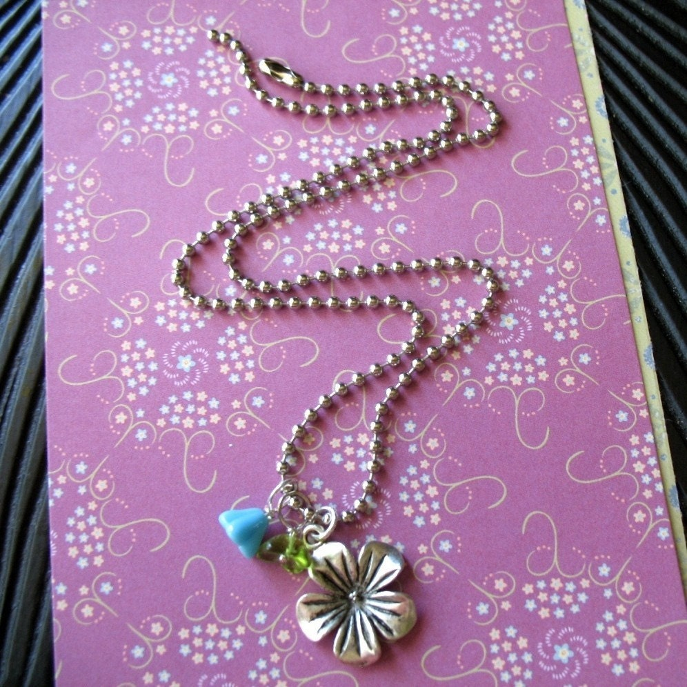 Island Girl - Pewter Hibiscus Charm Necklace.