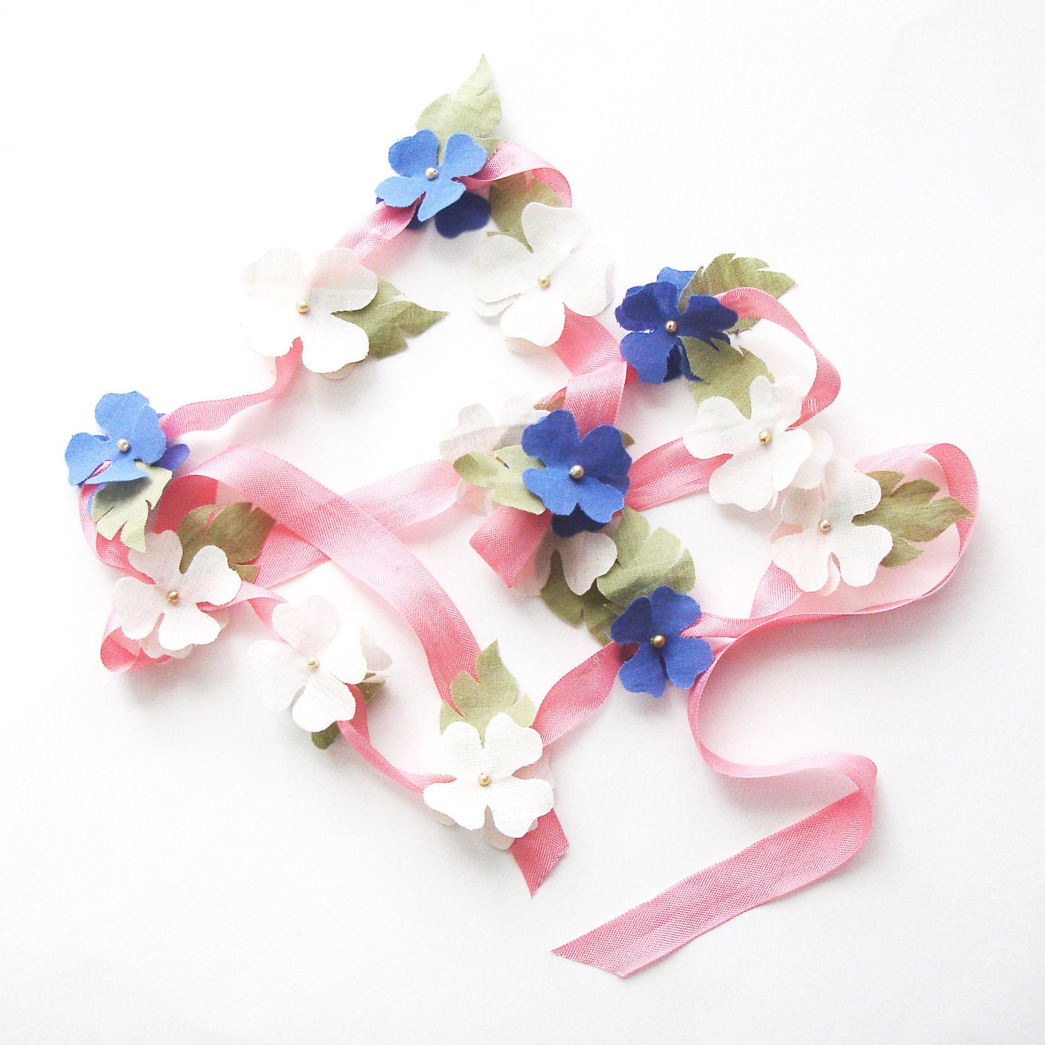 Fabric Flower Garland in fairtrade organic cotton and vintage ribbon - pink/ivory/indigo