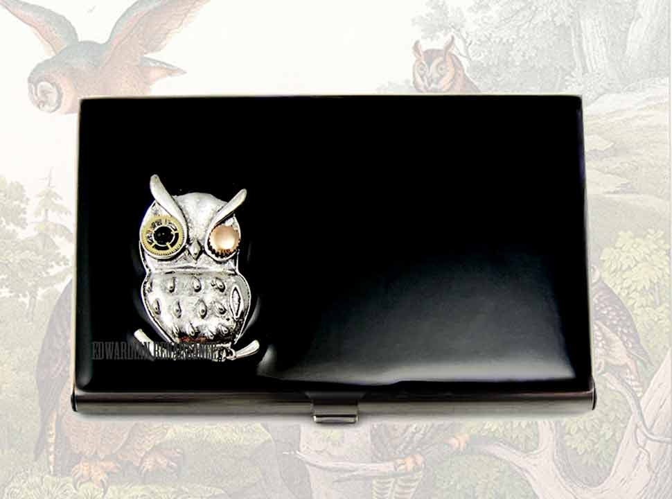 Business card case owl steampunk gear and by for Steampunk business card holder