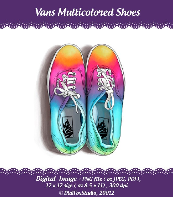 Vans Multicolored Rainbow Tie Dye Shoes - Printable Digital Illustration for DOWNLOAD- Clipart ( 12x12 or 8x10). Item number S0066 - DidiFox