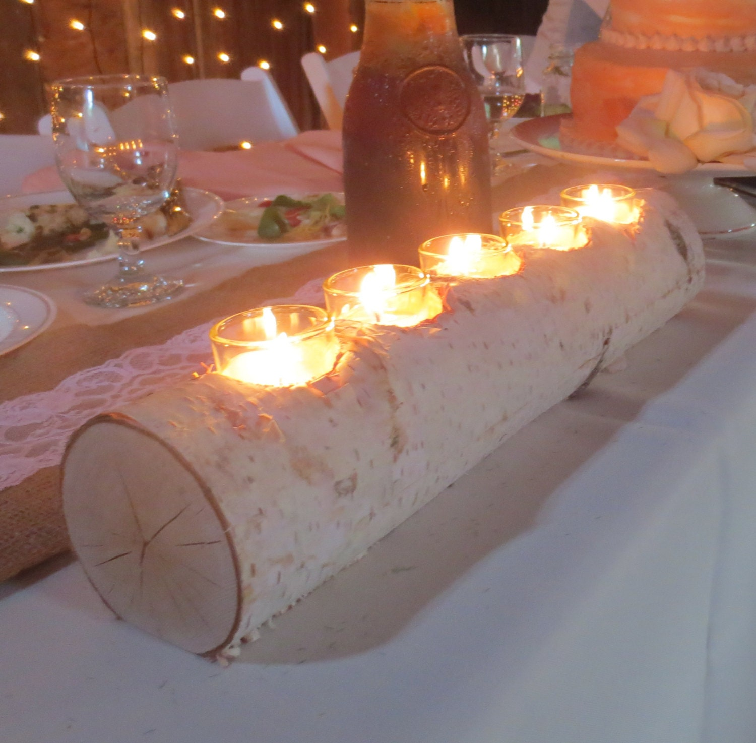 Birch log votive light candle holder wedding by