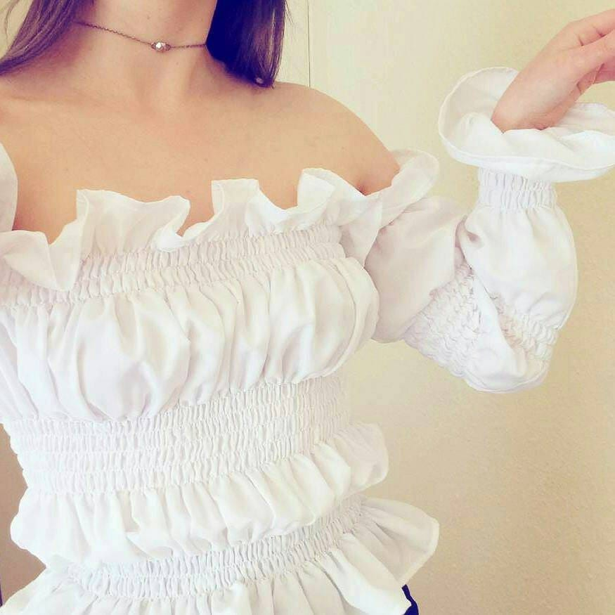 THE JEMIMA TOP  Handmade white off shoulder top ruffled shirred flared sleeves top