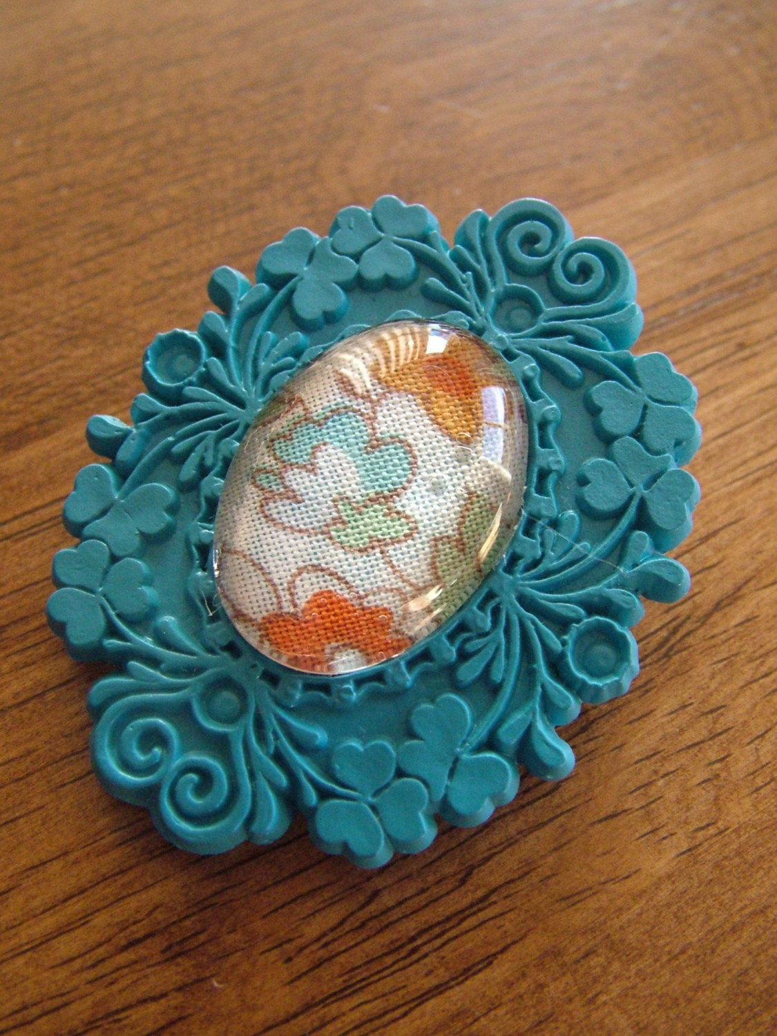 Turquoise Blue Resin and Floral Fabric Brooch/Pin