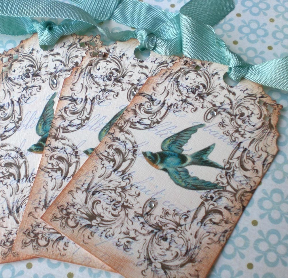 Vintage French Bird Tags - Set of 3