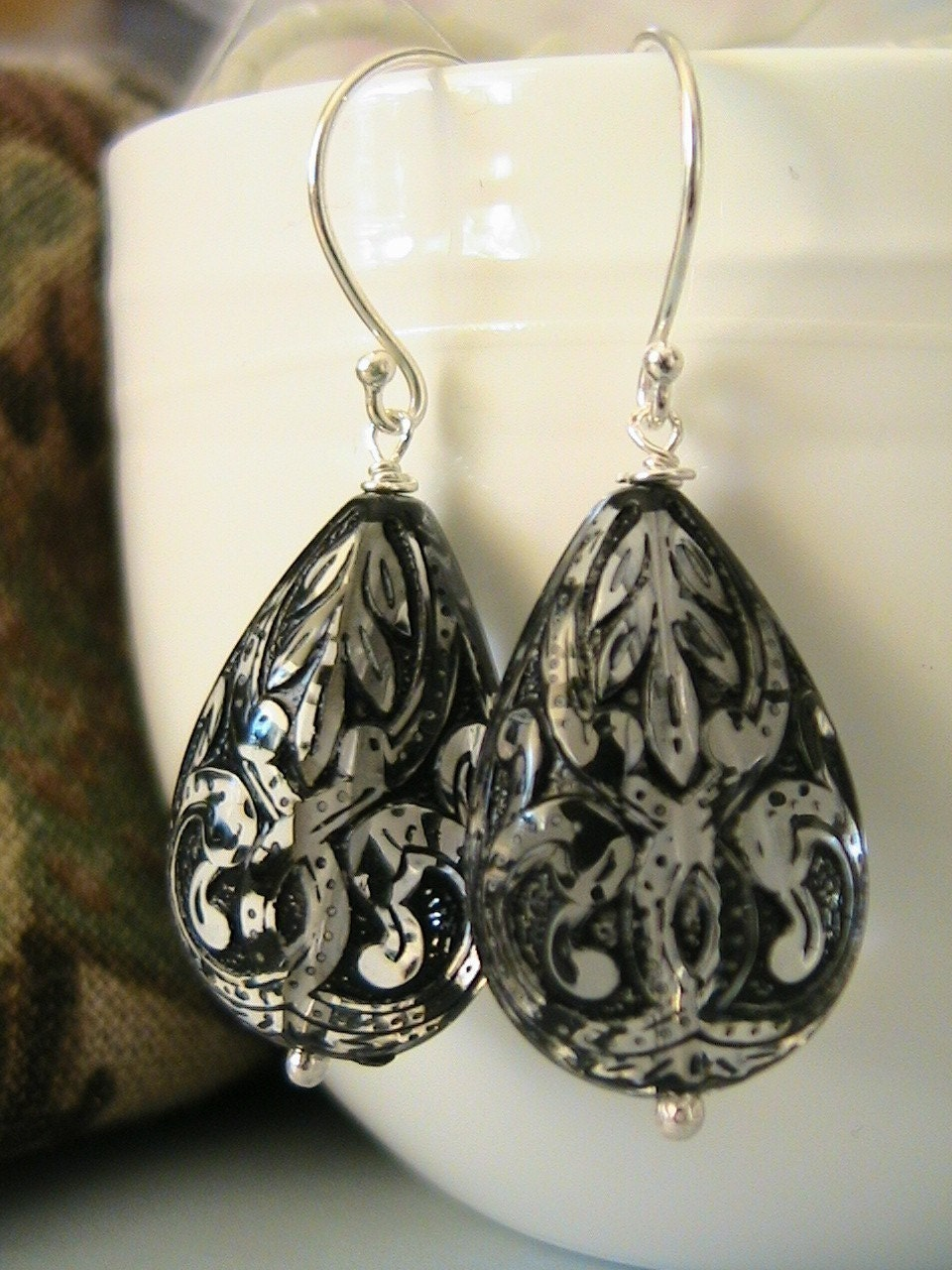 Victorian Black Lace - Lucite and Sterling Silver Earrings