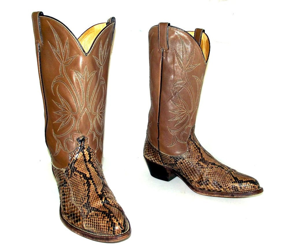 snakeskin cowboy boots mens size 10 5 d or by