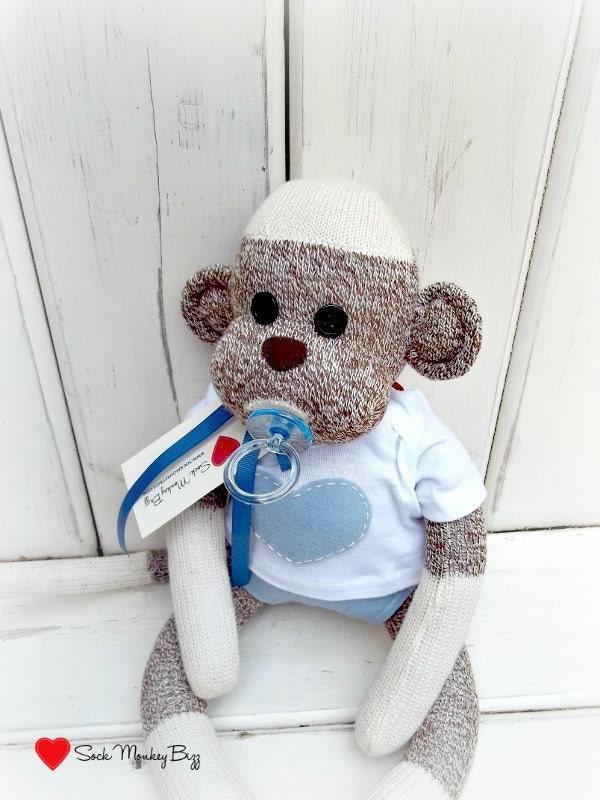 Items similar to Baby Shower Sock Monkey Doll Baby Boy