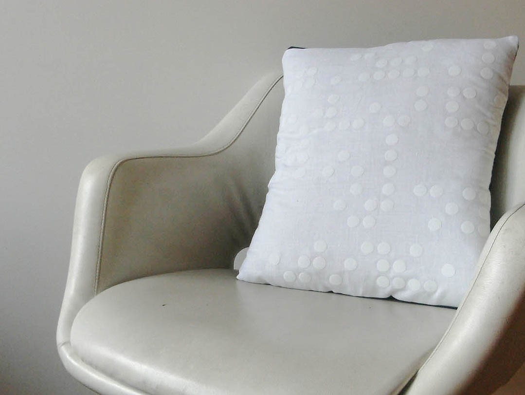 FLOCKED Braille Cushion  White