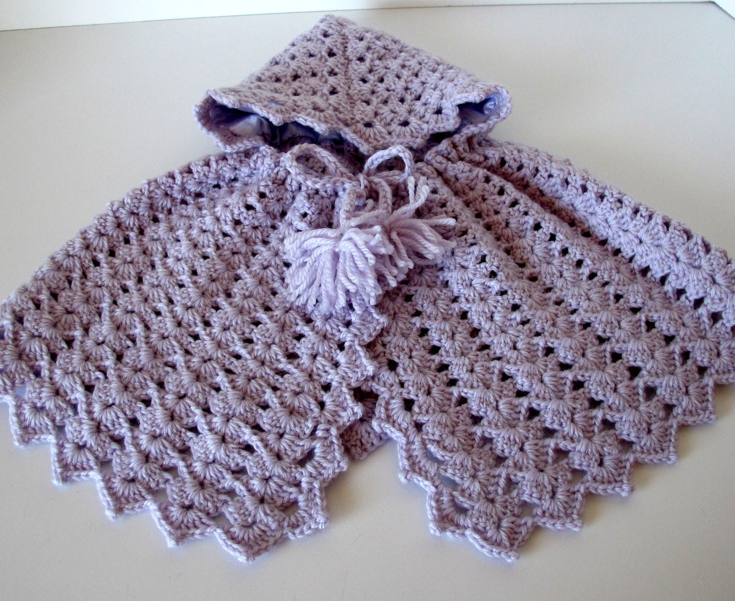 Baby's Crocheted Wool Cape in Pale Lavender - LulusCreations1