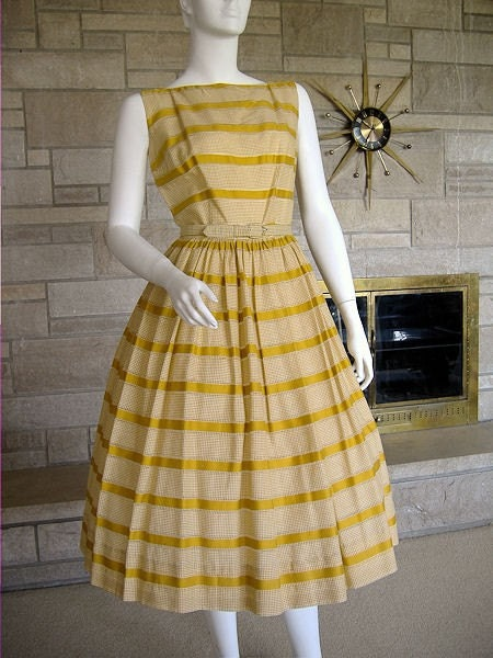 "Vintage 50s 60s Dress Mustard Gingham Stripe XS 25"" waist"