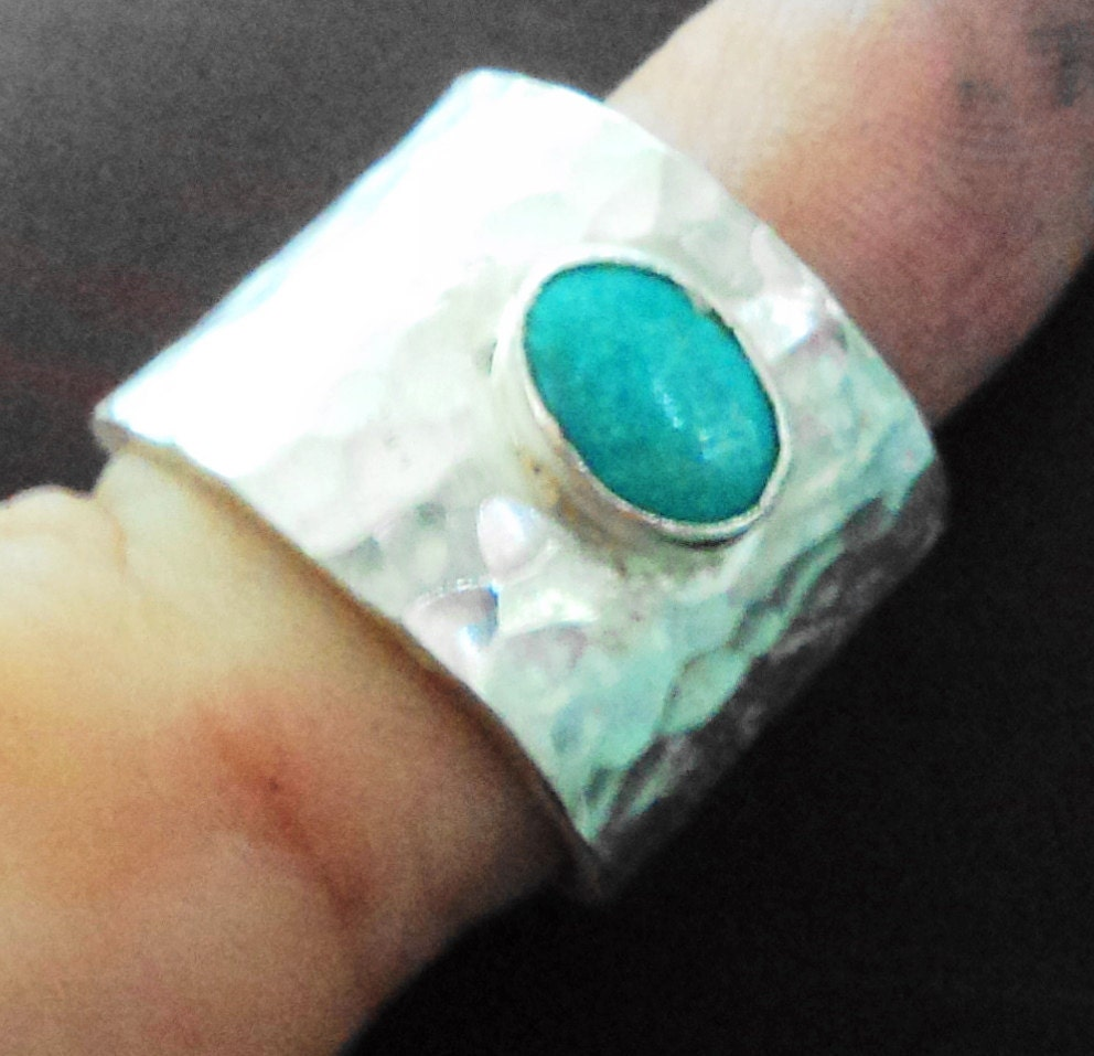 Turquoise and Sterling Silver Ring Texture Hammered made to your size.