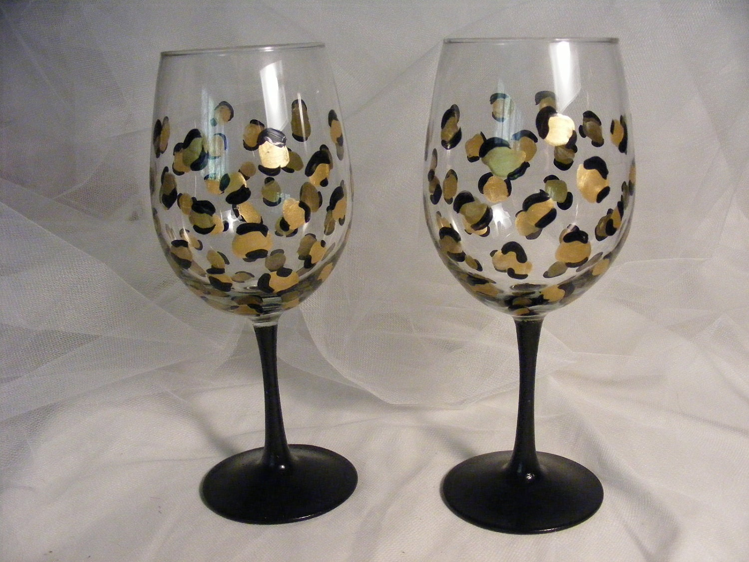 Leopard Print Wine Glasses With Black Stem By Delightfulfinds