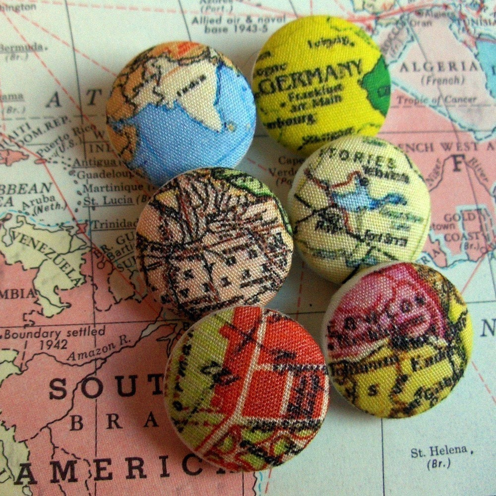 Where in the World Fabric Covered Boutique Buttons by aimoobaroo from etsy.com