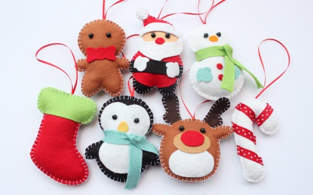 Set Felt Plush Christmas Ornaments Santa by dropsofcolorshop