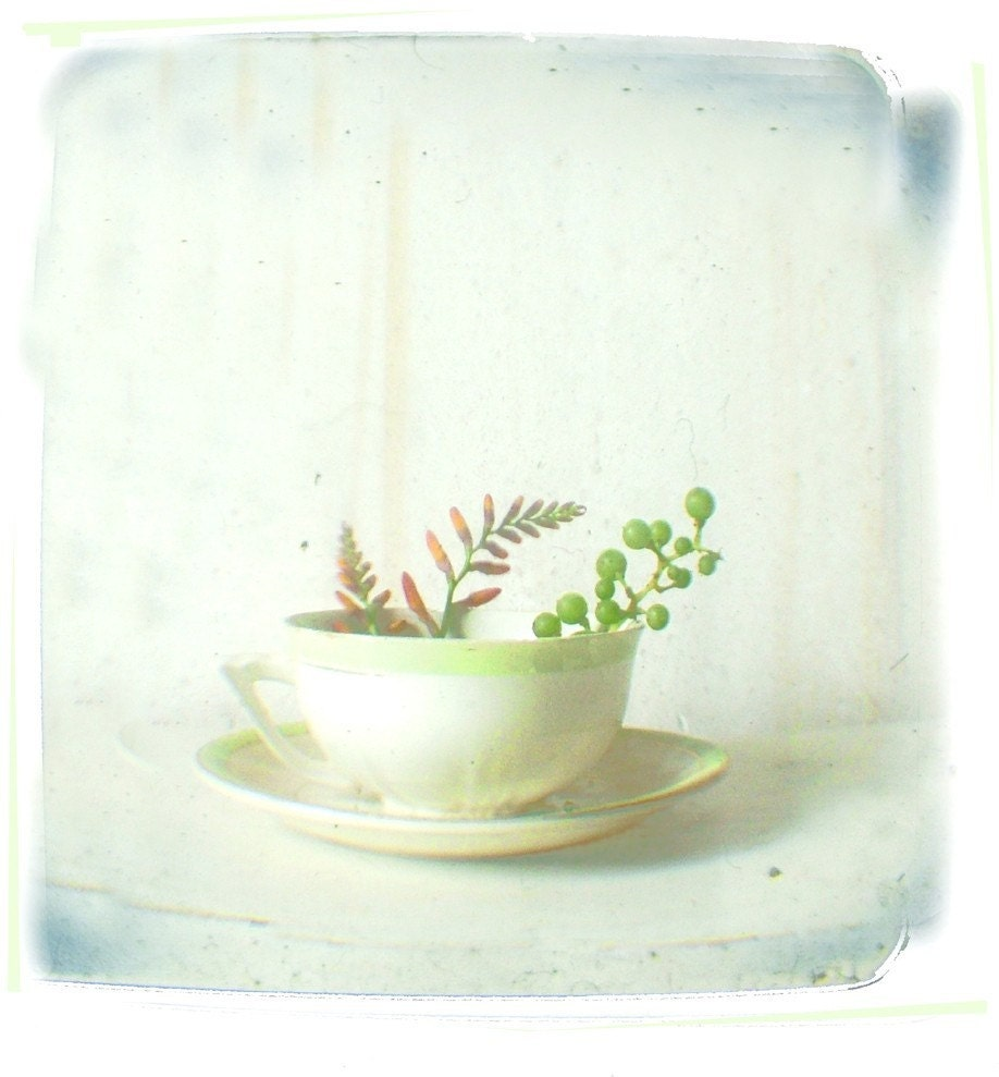 Simple, Minimalist White and Pale Green Vintage Teacup Still Life Print