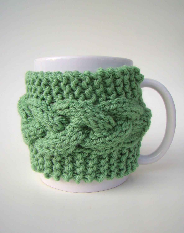 Mug Sweater Knitting Pattern : Knit Cozy and MUG Cable Pattern Mug Sweater Mug by HookMadness