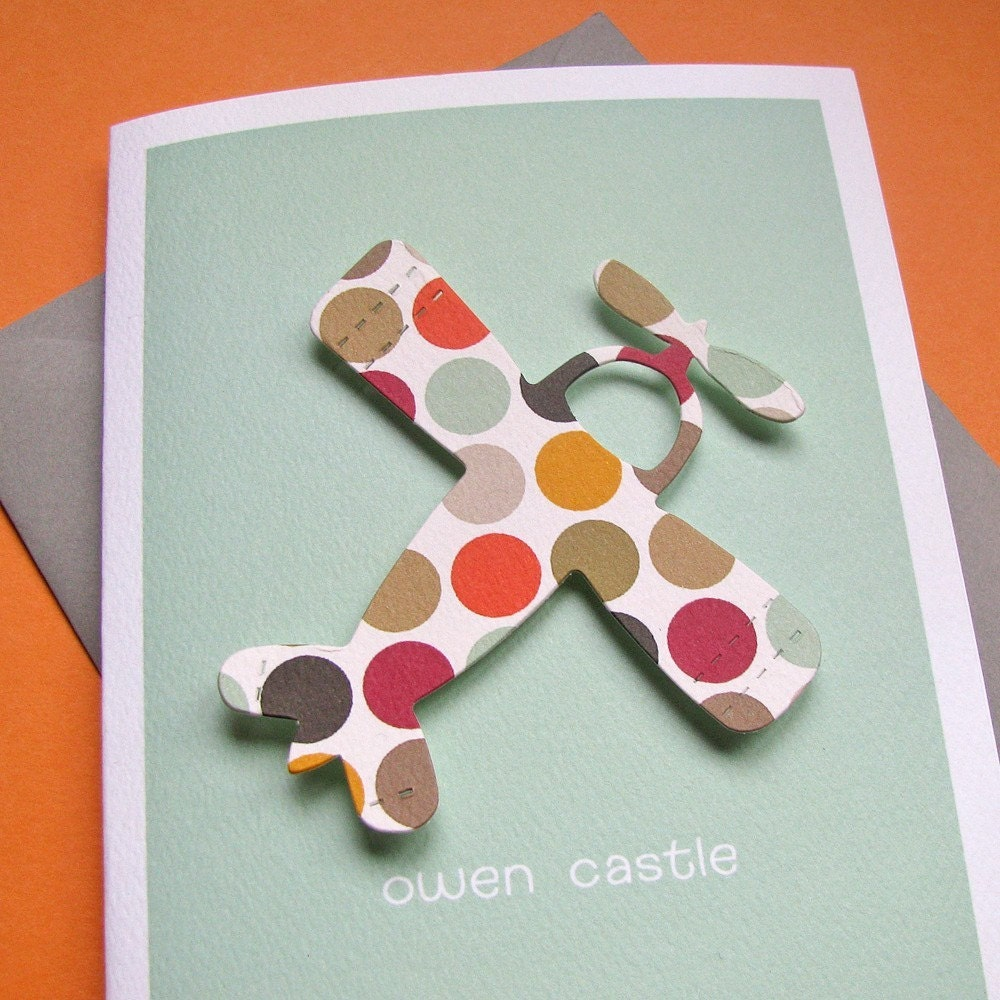 recycled custom thank you notes - autumn dot plane on seafoam texutured stock