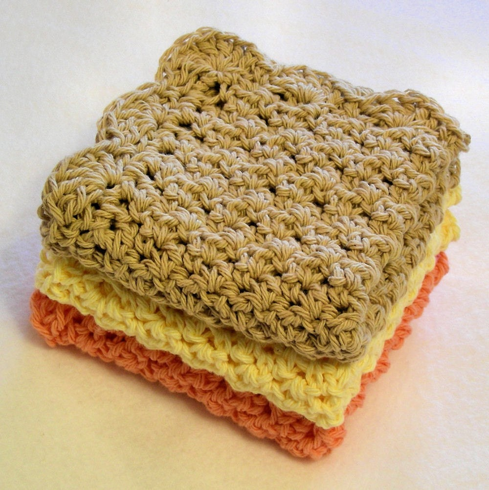 Handmade Crochet on Etsy - Spa Cloth Set of 3 in Toast, Daffodil Yellow and Peach by jnoriginals from etsy.com