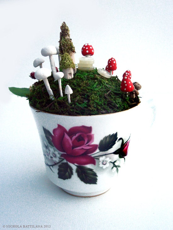 Fairy town in a teacup -  Faerie Houses, Moss and Mushrooms Oh My
