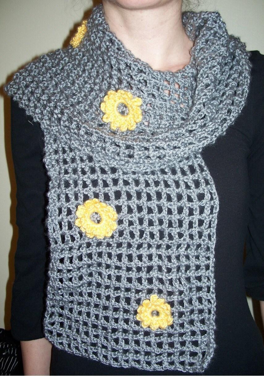 Dusty Gray Crochet Scarf