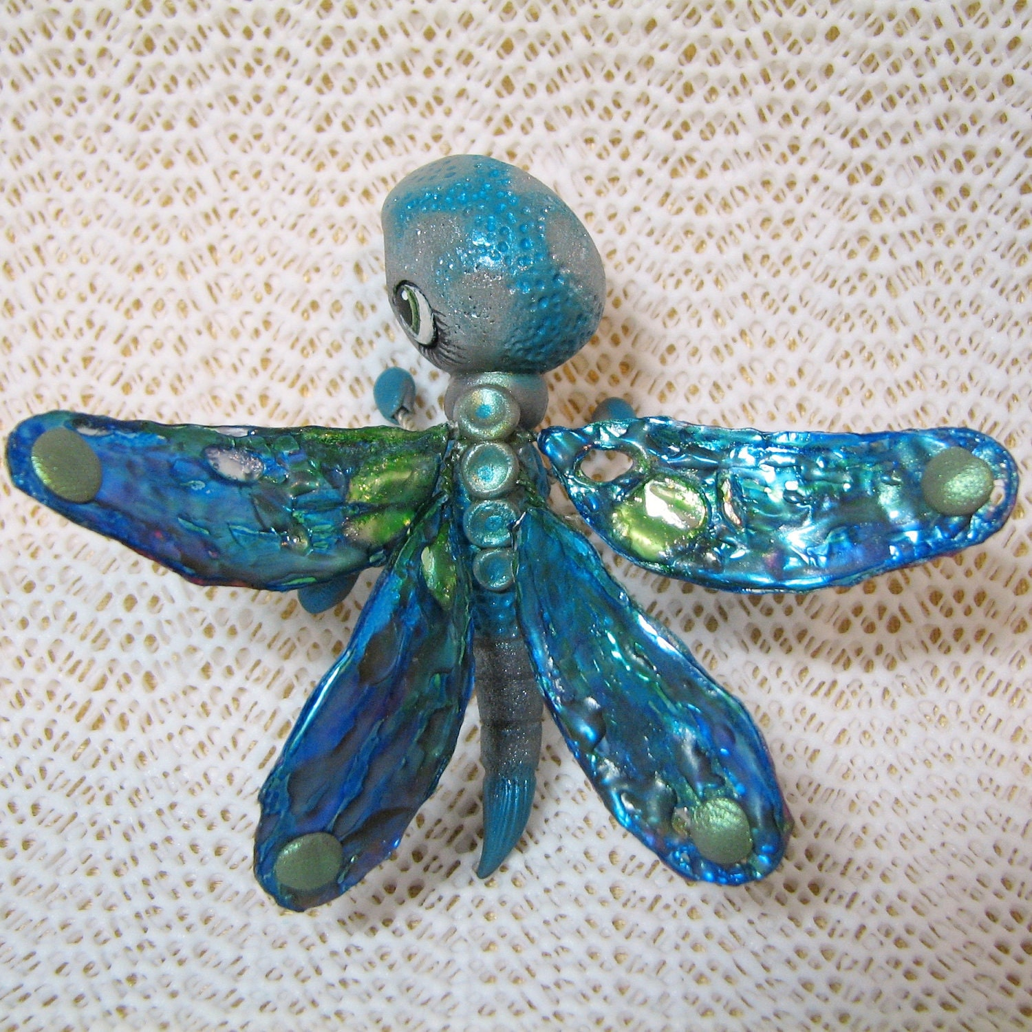 Kawaii Chibi Dragonfly Chibitude                                   Figurine Polymer Clay Hand Made