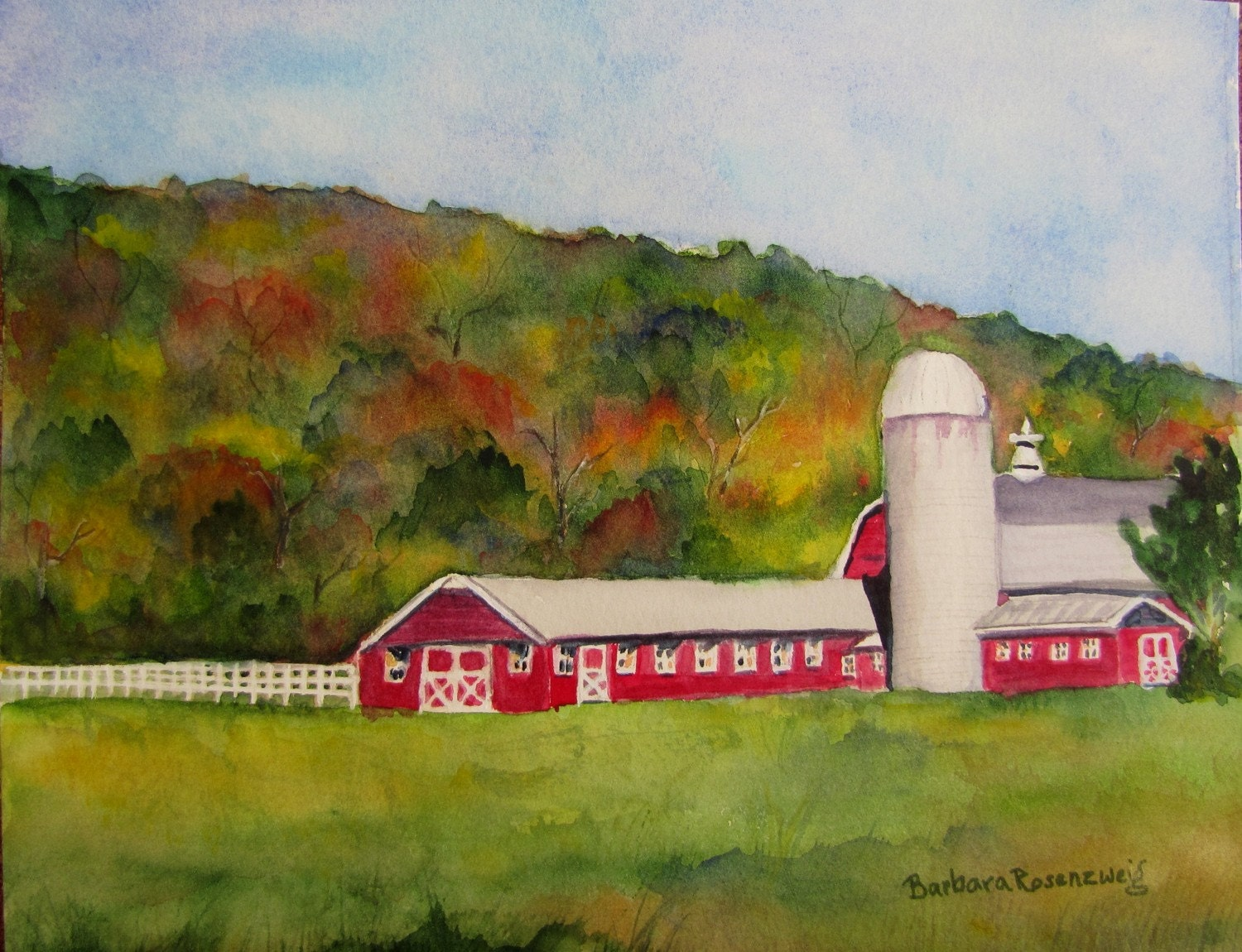 Original Barn Berkshire Landscape Art: Watercolor Painting 8x10