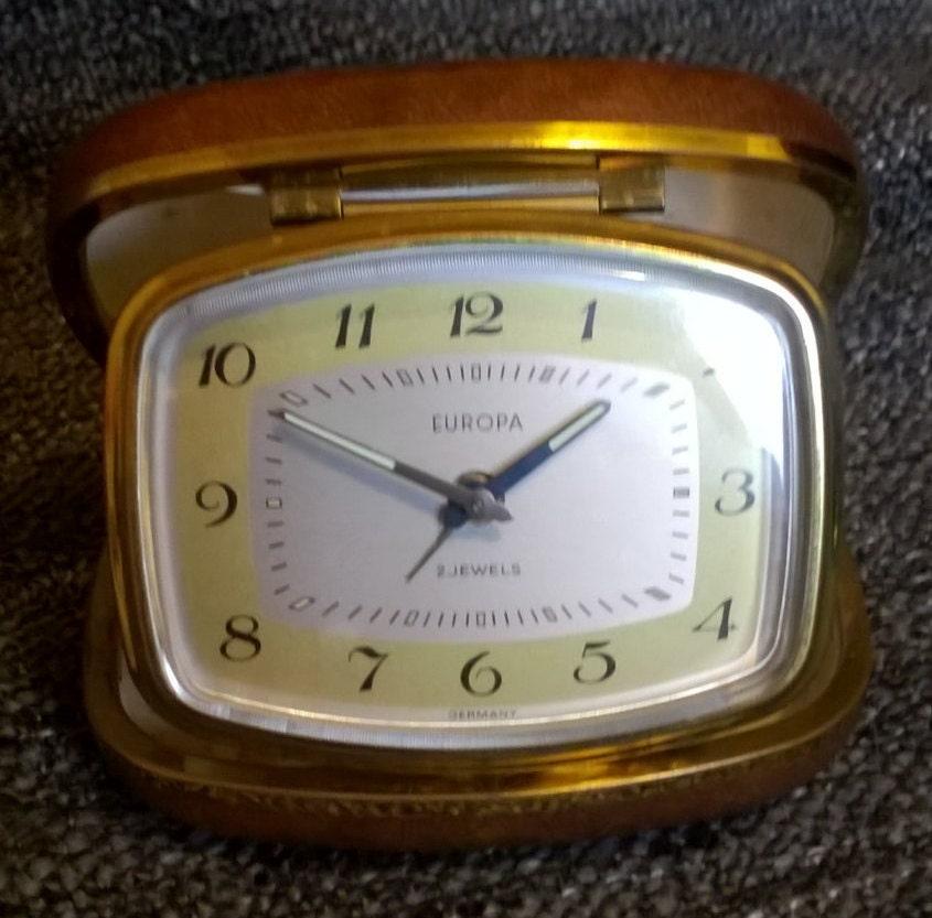 Vintage Travel Alarm Clock Europa Made in Germany Retro Clock Bedside Gift Idea